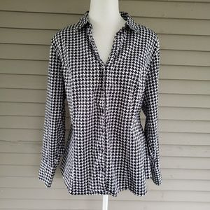 Lane Bryant Houndstooth Button Up Shirt Size 20